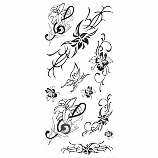 Goodland 1 pc papillon fleur de lys s rie tanche body art tattoo motif tatouages temporaires - Papillon noir signification ...