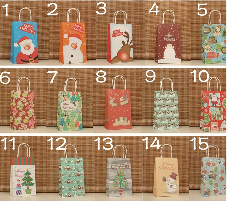 21*13*8 cm 14 Design Paper Gift Bag for Christmas Gift Recyclable Kraft Bag Party Supplies 30pcs/lot WS002(China (Mainland))