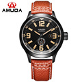 Fashion AMUDA Brand Luxury Mens Casual Quartz Watch Analog Military Watch Auto Date Genuine Leather Clock