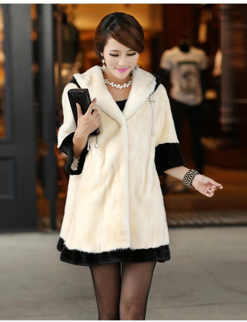 Fur coat 2015 Women's Rabbit Jacket Hooded Outerwear Lady Winter Female Long fur jacket - CICIU store