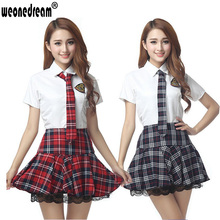 Classic plaid student uniform pleated skirt set lace decoration dress short-sleeve school uniform (Shirt+Dress+Tie) Clothing set(China (Mainland))