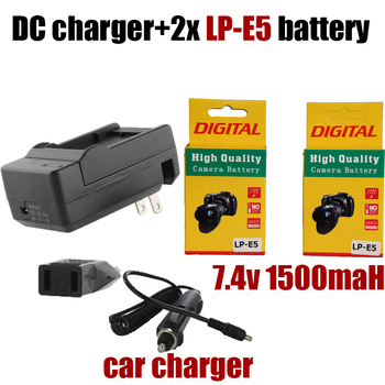 Hot DC charger + car charger +2x LP-E5 Camera Battery LP E5 LPE5 For Canon EOS 450D 500D 1000D KISS X2 X3 F Rebel XS XSi T1i