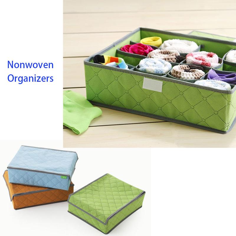 Folding 16 Grids Organizer Underwear Storage Box Bra Sock Cover Foldable Make Container Divider 20 - Idefun Store store