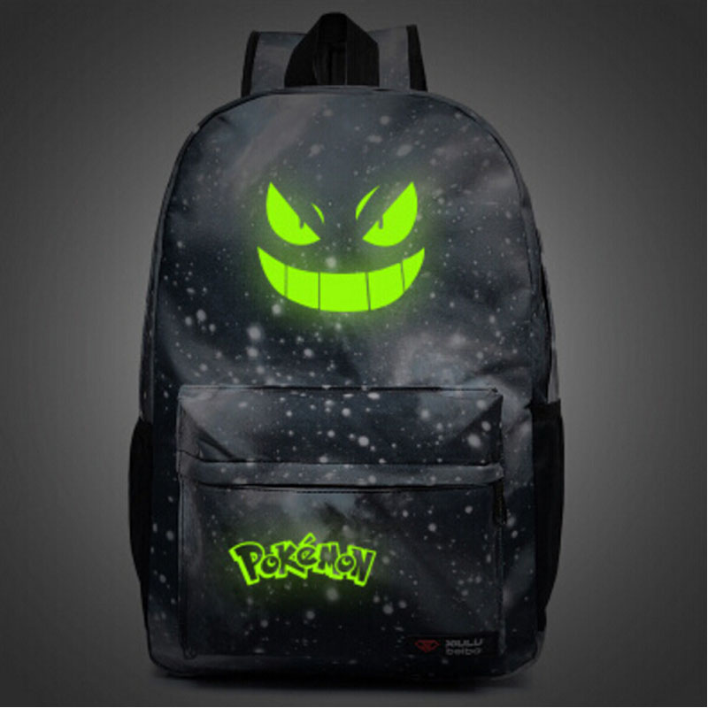 Luminous Pocket Monster Backpacks Harajuku Galaxy Pokemon Anime Canvas Students Printing School Bags Rucksack Mochila Escolar - happiness bride store