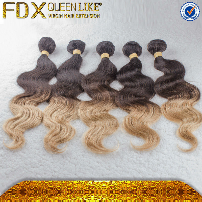 Ombre Hair Two tone colors ,Brazilian hair body wave fashion virgin human extensions color #1b/27 - Queen Beauty Products Ltd store