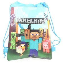 Wholesale Minecraft  Non-woven Children School bags swimming bags 12pieces/pack(China (Mainland))