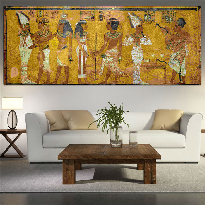 Framed Wall Art For Living Room : Egyptian decor canvas painting oil wall pictures