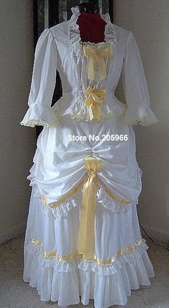 Custom made 1800s victorian dress 1880s summer bustle for Victorian bustle wedding dress