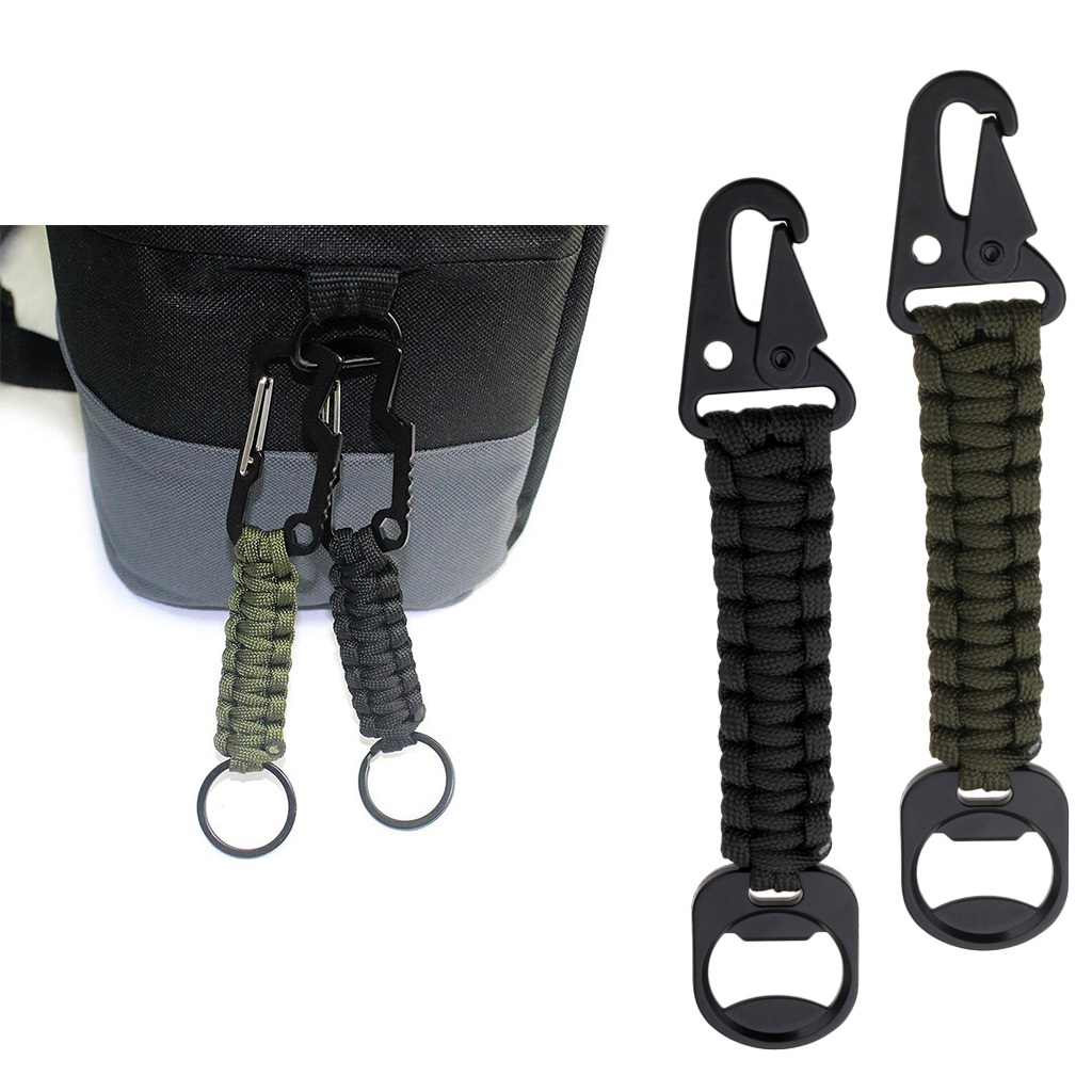2Pcs Durable Paracord Carabiner Survival Keychain for Ladies Girls Boys Outdoor Hiking Camping Hunting Fishing 16.5x3cm