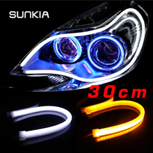 Free Shipping 30cm Flexible Daytime Running Light White/Yellow/Blue/Red Color Available Day Driving Switchback DRL Strip(China (Mainland))
