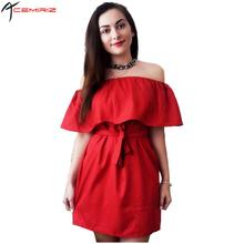 Buy Ruffles Slash Neck Women Dress Summer Style Shoulder Vestidos Sexy Solid Dresses Loose Beach Dress Cotton AWD0086 for $12.99 in AliExpress store