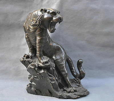 "16"" China Fengshui Tiger On the Mountain Zodiac Animal Bronze Statue Sculpture Decoration 100% real Brass Bronze(China (Mainland))"