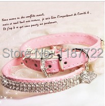 Fashion Snd Beautiful Pet Dog Leash With Rhinestone Cat Or Dog Collar Sweet Pink Collar PU Leather Free Shipping(China (Mainland))
