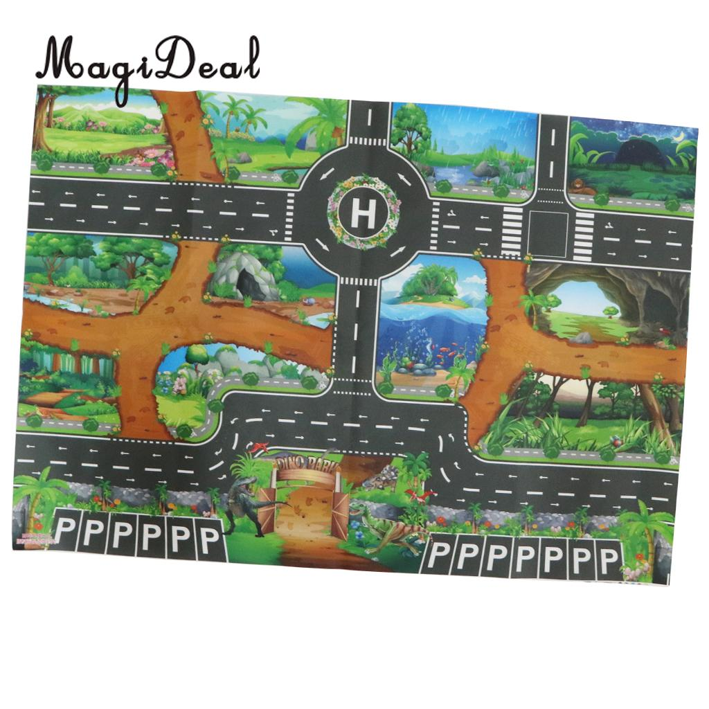 Kids Dinosaur World Road Traffic Play Mat Rug Toy Carpet Playmat Baby Children Developmental Car & Track Toy Gifts #B