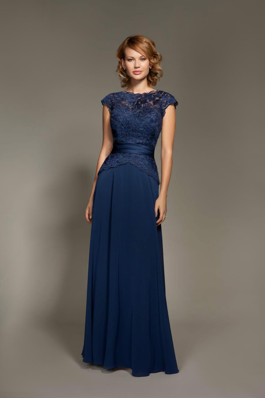 Vestidos-De-Fiesta-Blue Bateau Neck Lace Chiffon Long Evening-Dress Backless 2014 New Formal-Dresses Prom Dress Floor Length - Wuzhiyiwedding store