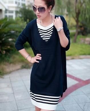 Plus size mm maternity postpartum women's clothing summer plus elegant sweater one-piece dress - iGem store