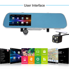 """5"""" Android GPS Navigation Car Rearview Mirror DVR Dual Lens Front Rear 1080P 720P Camera Recorder with Night Vision for Cars(China (Mainland))"""