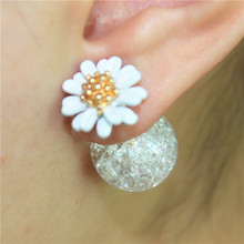 2016 new design fashion brand jewelry elegant Daisy Flower seffect earring double imitation pearl Statement earring for women(China (Mainland))