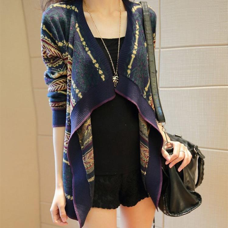 Free shipping 2015 new Autumn Wild loose knitted cardigan Irregular ethnic style shawl coat(China (Mainland))