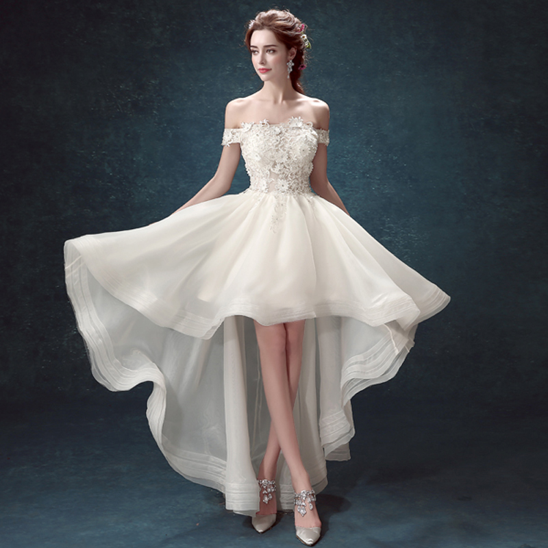 Women 2016 arrival custom off shoulder short sleeve for Short white wedding dress with sleeves