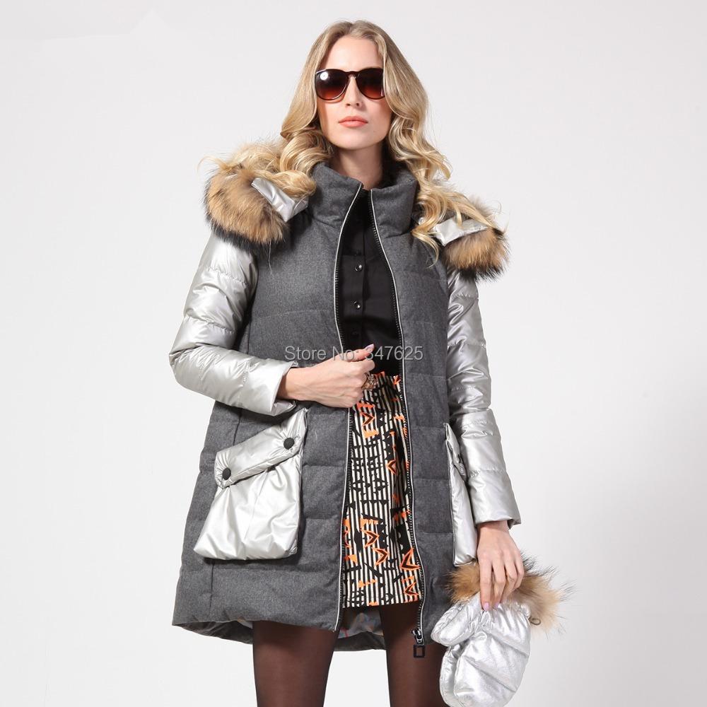 women's thick winter coat natural real raccoon fur hooded long parkas warm patchwork white duck coats 4XL size - YUpsilon-Fashion store