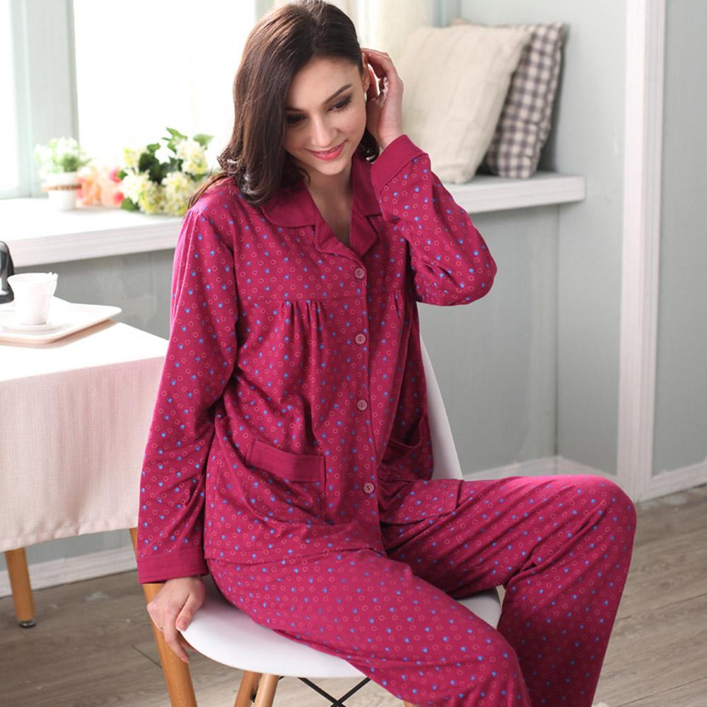 Winter 2016 Hot Sale Women Pajamas Full Sleeve Nightwear Cotton Female Pijama Polka Dot Turn-down Collar Casual Sleepwear A5115(China (Mainland))