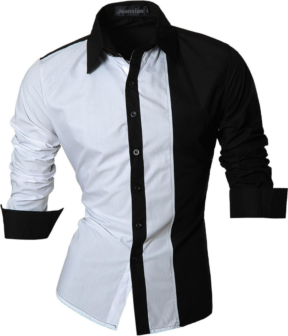 Male slim fit cotton mens dress shirts casual long sleeve for Slim fit mens shirts casual