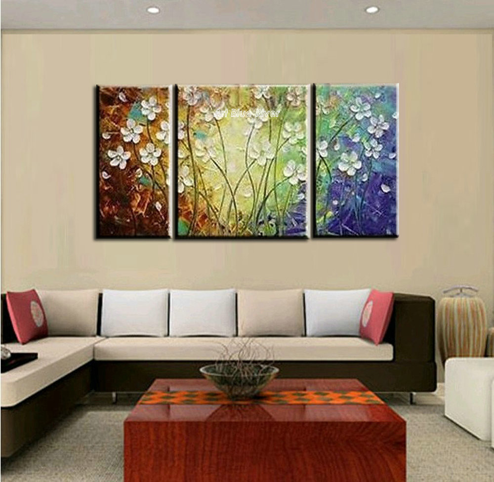 Buy 3 piece  knife paint abstract modern canvas wall art textured flower hand painted oil painting canvas for home decor living room cheap