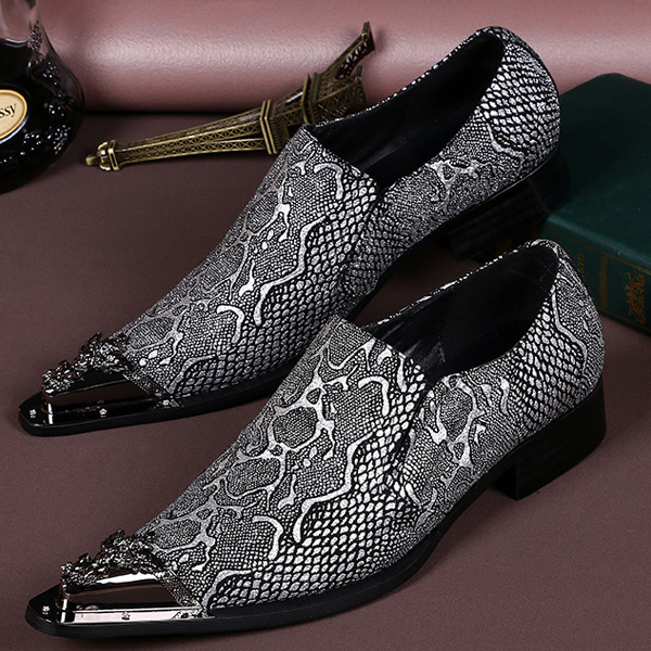 2016 Men Fashion Mixed Embroidery Metal Totems Pointed Toe Business Oxfords T Show Party Wedding Heighten Genuine Leather Shoes <br><br>Aliexpress