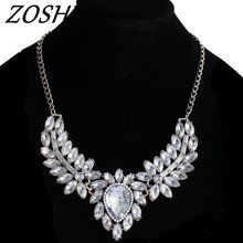 Buy ZOSHI Brand Fashion women statement choker necklace silver Color chain ladies pendants necklaces crystal jewelry collier femme for $2.32 in AliExpress store