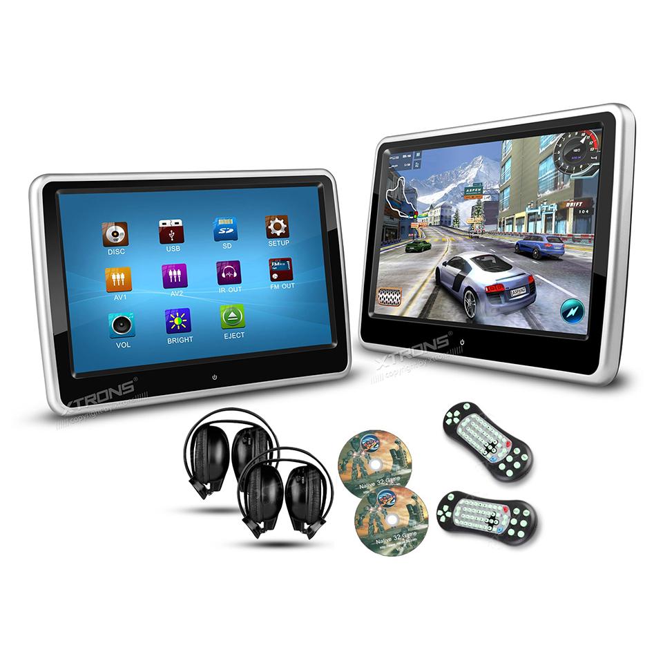 2 10 1 portable pc monitor car headrest dvd player hd. Black Bedroom Furniture Sets. Home Design Ideas