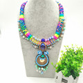 Bohemian Women Feather Necklace Set With Earrings Exo Cloth Pipes Chain With Metal Spring Exaggerated Statement