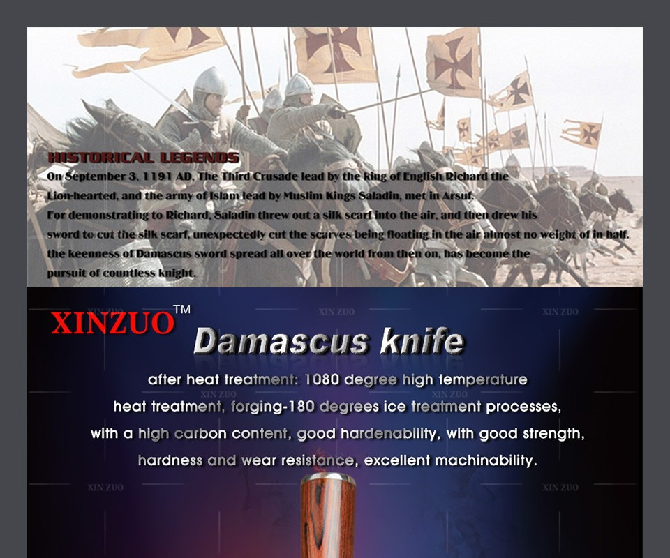 "Buy XINZUO 73 layers High quality Japanese VG-10 Damascus steel 8"" inch kitchen chef knife with Color wood handle free shipping cheap"