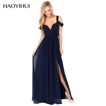 2016 New Arrival Floor Length Solid Dinner Dresses Sexy Side Slit V Neck Off Shoulder Female Gown HAOYIHUI 141516530
