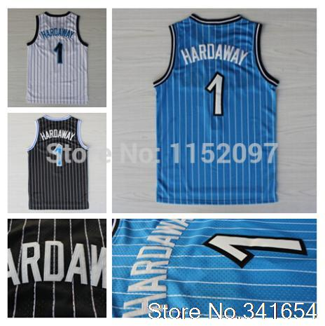 Free Shipping #1 Penny Hardaway Throwback Jersey Cheap Hardaway Basketball Jersey Team Color Blue Black White Embroider Logo(China (Mainland))
