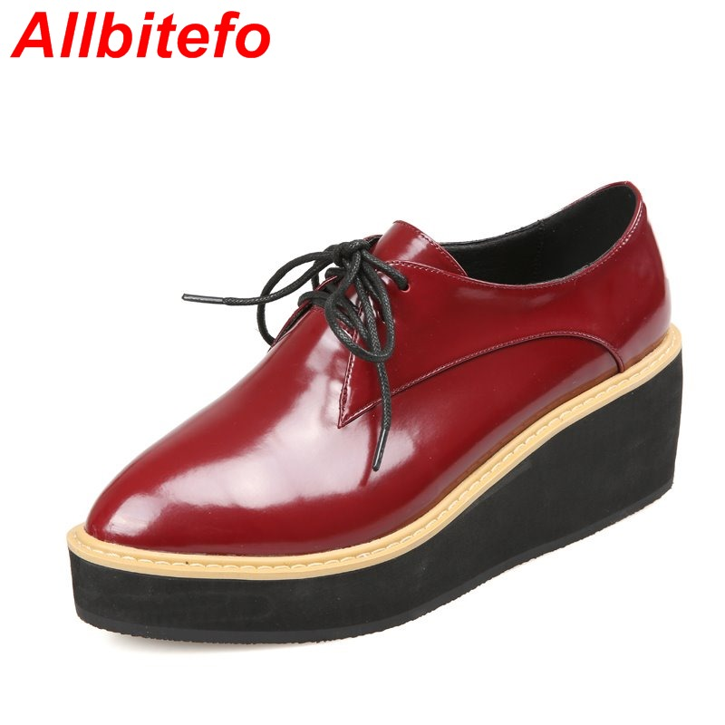 Full genuine leather flat platform lace up fashion women flats flat heel pointed toe Thick bottom High quality Heighten shoes