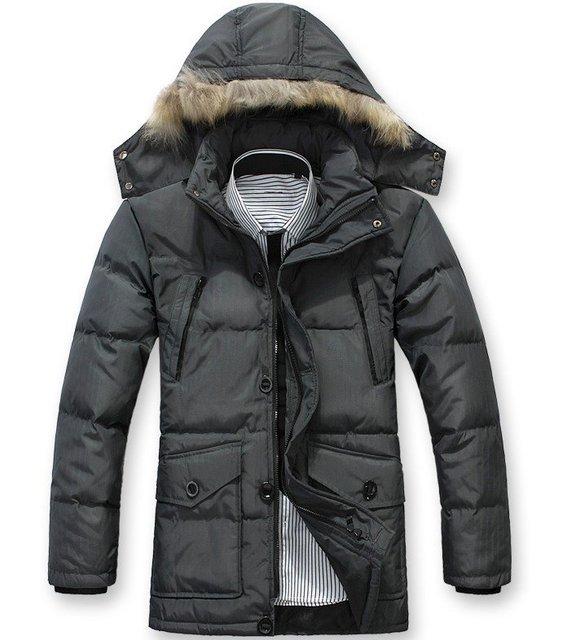 2012 Free Shipping , Fur Collar Men's winter overcoat, Outwear, Winter jacket, 3 colors, L-XXXL, Big Size wholesale