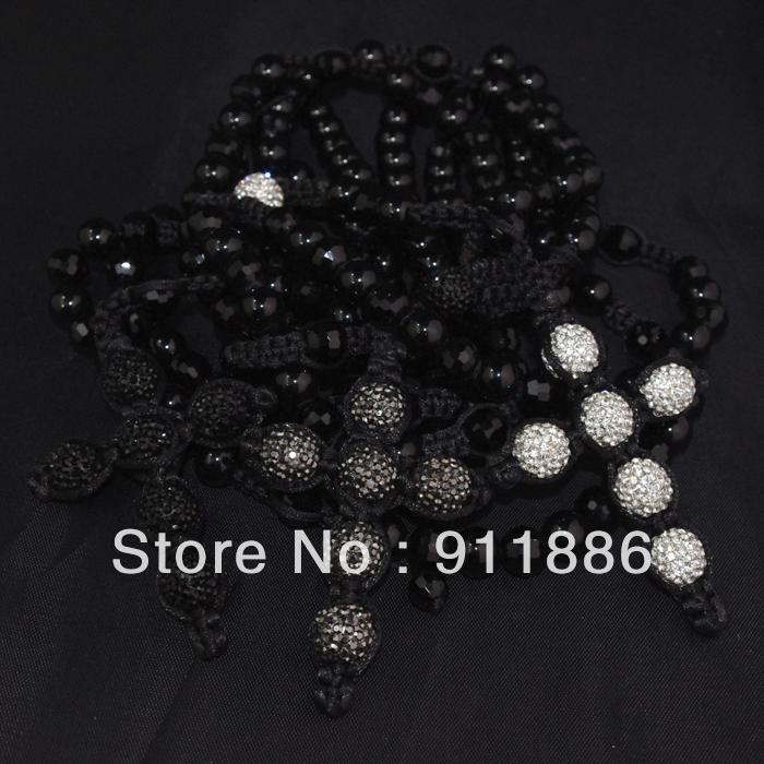 Hot Selling,Fashion Shamballa Cross Necklace,Charm Men Necklace Pave CZ Crystal & Christian Cross & Rosary Beads,Free Shipping(China (Mainland))