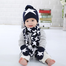 100% cotton ball can not afford not fade  Navy Blue White star hat scarf gloves 1 set  baby boys  winter knitted hat set  (China (Mainland))
