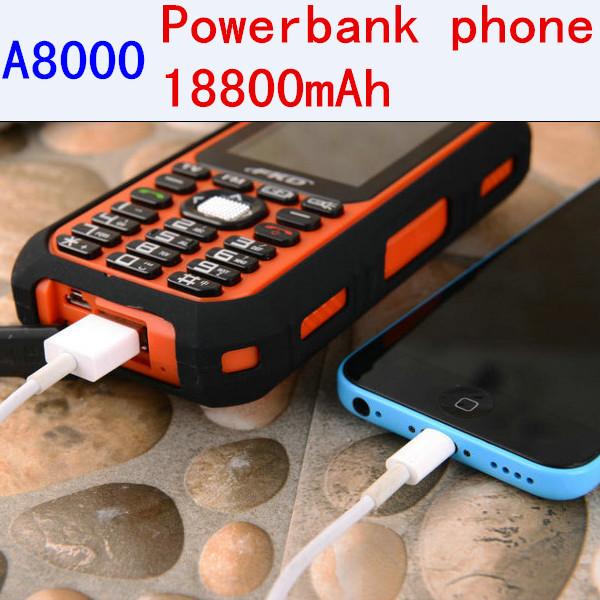 Original FKD A8000 capacity Battery 18800mAh Power Bank Phone Loud Soud Camera Dual Sim Long Standby Russian Keyboard A9000 K28(China (Mainland))