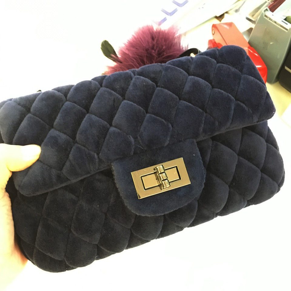 2016 new winter handbags warm velvet material chains plaid women bags gray red black blue 4color free shipping in stock