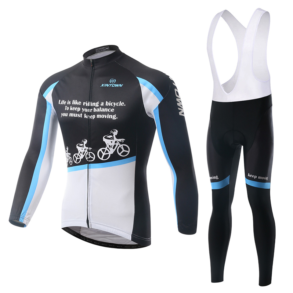 2015 Autumn New Men Jerseys Sets Long Sleeve Bib Long Cycling Padded Quick Dry High Quality XINTOWN Riding Design<br><br>Aliexpress