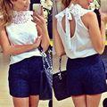 women White lace Sexy blouse sleeveless hollow out backless blusas femininas camisas branca feminino shirts festa