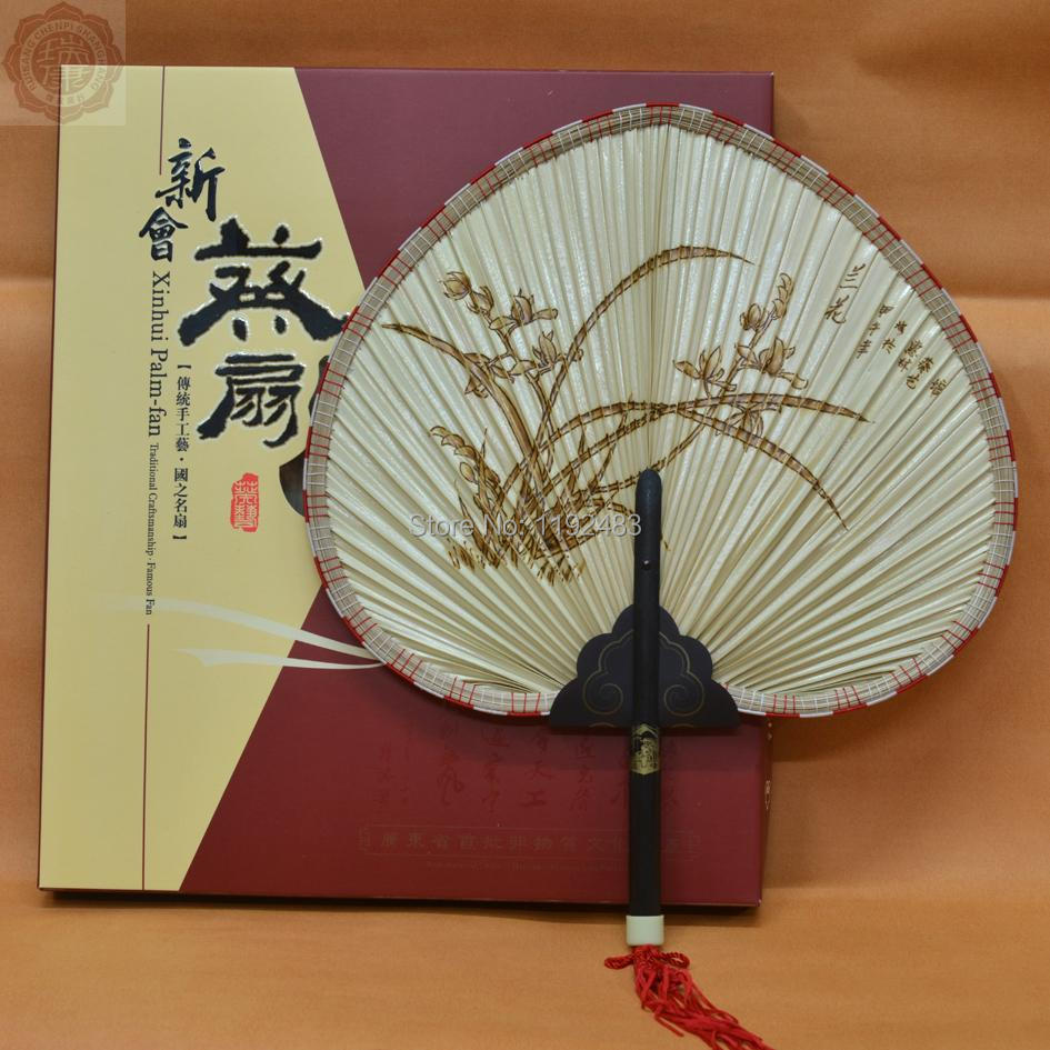 Free Shipping, straw chinese hand fans, embroidery, leque, abanicos de madera, la mano del ventilador, handmade gifts, hand made(China (Mainland))