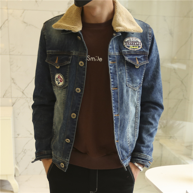 2016 winter men brand denim jacket,cowboy clothing men's jacket coat fur collar jeans J529 - Flykey Trading Store store