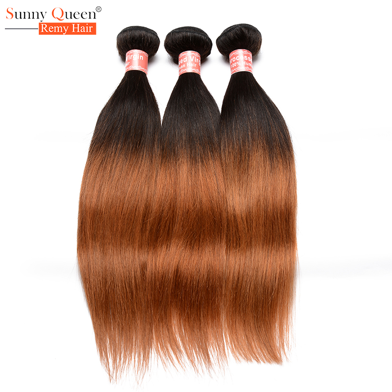 Ombre Straight Hair Brazilian Hair Weave Bundles Ombre 1b/30 3Pcs Two Tone Ombre Brazilian Virgin Hair Rosa Queen Hair Products