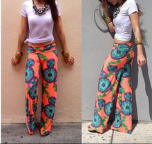 2015 Summer Women Pants Casual High Waist Flare Wide Leg Long Pants Palazzo Trousers Plus Size Floral Classic Exuma Pant Preppy(China (Mainland))