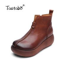 Tastabo Platformu Çizmeler Kadın El Yapımı Siyah Martin Ayakkabı Bayanlar Rahat düz ayakkabı Hakiki Deri yarım çizmeler Kadınlar için(China)