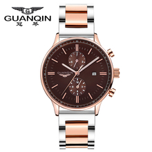 GUANQIN Top Brand Luxury Fashion Quartz Watch Men WristWatches Waterproof Big Dial Luminous Men Watches Relogios