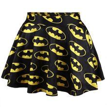 Hot Sell Lady 3d Batman Digital Printing Faldas Mujer Female Sexy Punk Short Pleated Skirt Women Retro High Waist Skirt